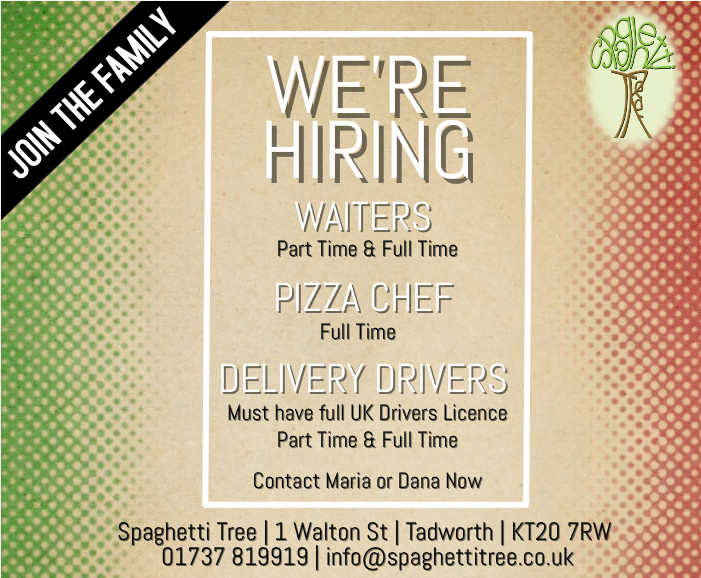 jobs in surrey | banstead | epsom | student jobs | part time | full time | waiters | chefs | delivery drivers | waitressing | bar staff | bar work | spaghetti tree